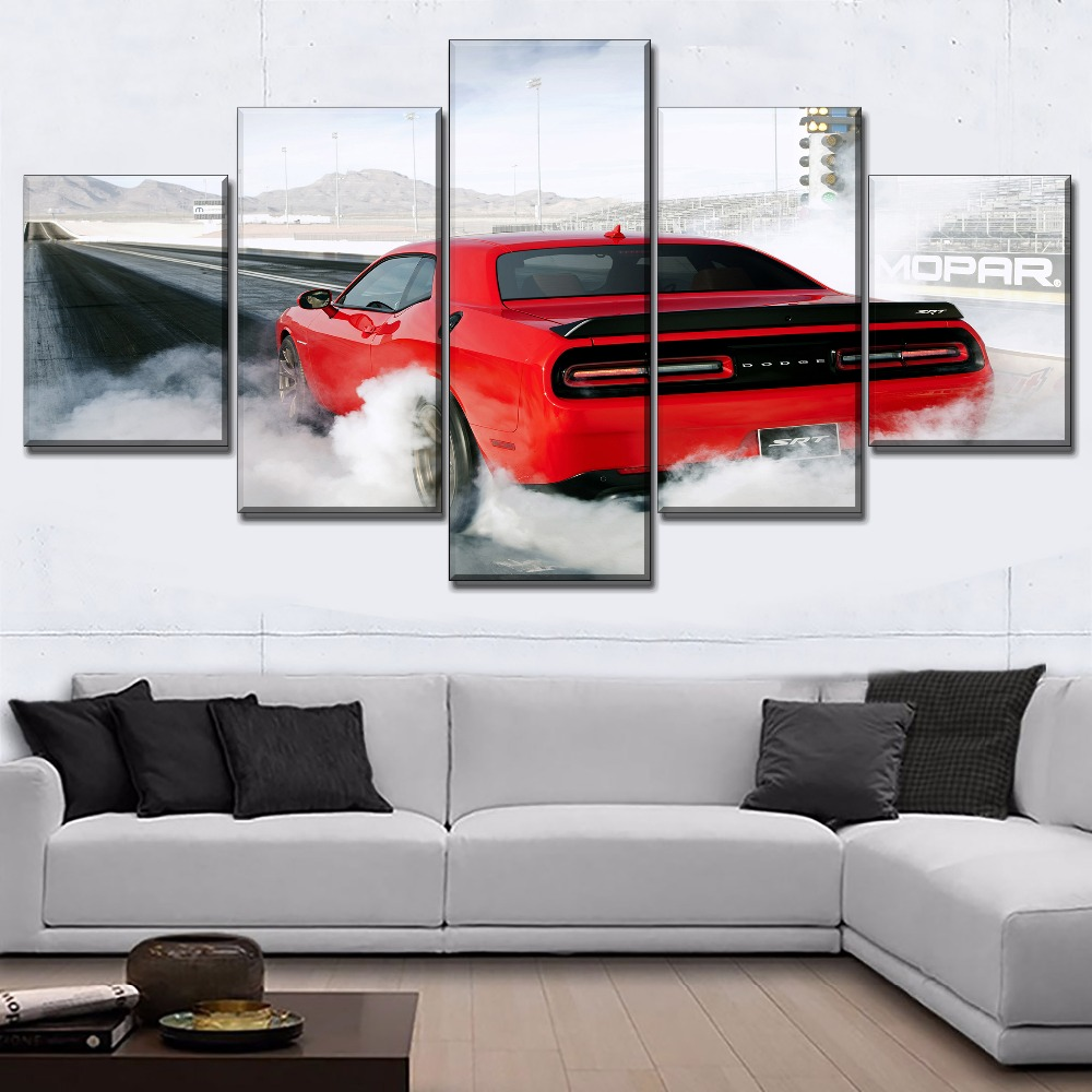 Framed Dodge Charger SRT Hellcat Red Car 5 Piece Canvas Print Wall Art Decor