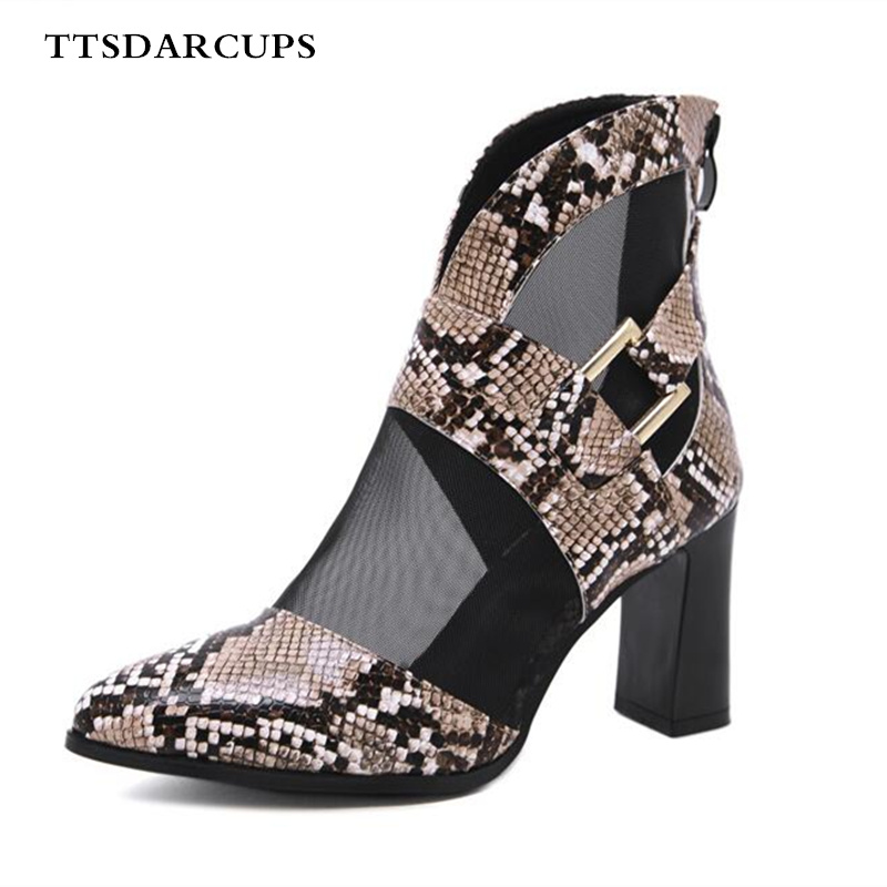 New Summer Shoes Woman Leather mesh high heels Black SNAKE PRINT two color breathable boots Plus Size 35 40 Sexy Fashion Banquet in Women 39 s Pumps from Shoes