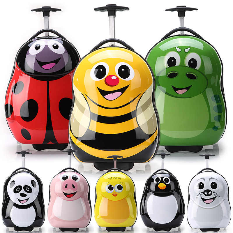 HOT 2PCS/Set Child Anime School Bag Boy Luggage Animal 17 Inch Cartoon Rolling Suitcase Kids Travel Trolley Case Boarding Box