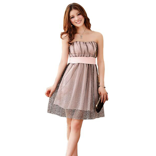Strapless Organza Dot Women Graduation Homecoming Dress A line Summer Short  Dress Elastic Waist Plus Size Black,Purple-in Homecoming Dresses from ...