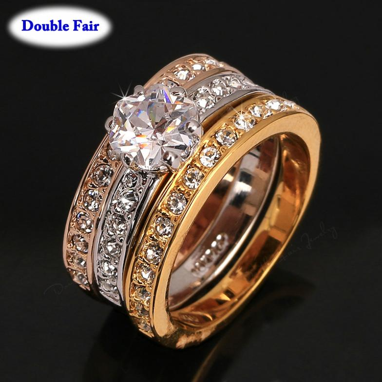 Classic Design 3 Color Round Cubic Zirconia Paved Engagement Rings