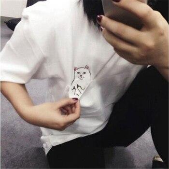 hirigin New Summer Fashion Pocket Harajuku Cat Lovers Women Top Short-sleeve T shirt Cute Sweet Style women