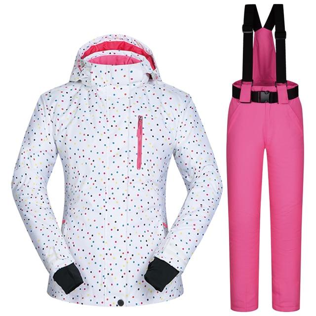 Лыжный костюм брендов Для женщин Зимняя ветрозащитная Водонепроницаемый Mountain BDD Лыжная куртка и штаны зимние комплекты Лыжный спорт и сноубордические костюмы