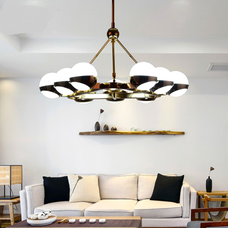 Nordic Pendant Lights creative living room glass ball modern minimalist lamps iron restaurant bedroom lights 6/9 heads LU71368