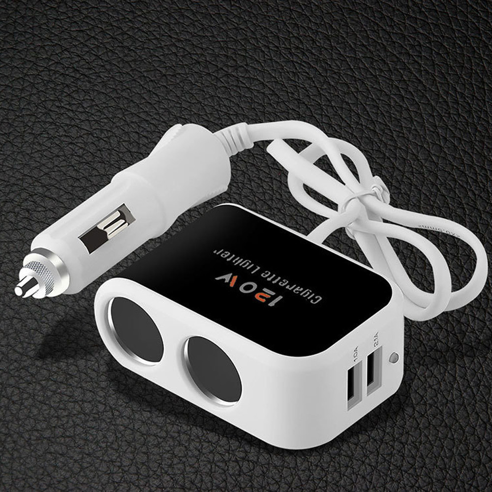 Dual USB Car Cigarette Lighter Socket Splitter Charger Power Adapter Outlet 12V 24V 3.1A New car-styling Auto for cell phone meidi car charger cigarette lighter adapter power 80w 12v 24v dual usb car charger 80cm charging cable for iphone 6s 7 samsung
