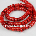 "free shipping 1string(15"") 74-896 red coral 6mm  loose coral rondelle beads jewelry components semi-precious stone beads"