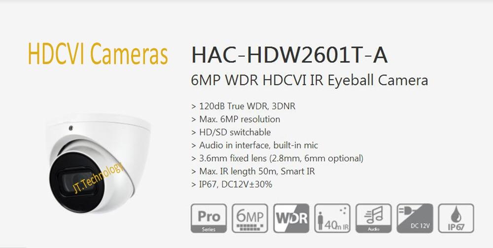Dahua Free Shipping Security Camera CCTV 6MP WDR HDCVI IR Eyeball Camera Digital Video IP67 Without Logo HAC-HDW2601T-A free shipping dahua cctv camera 4k 8mp wdr ir mini bullet network camera ip67 with poe without logo ipc hfw4831e se