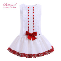 Pettigirl Hot Sale Red Bowknot Decor Girls Dresses Fancy Boutique Kid Clothing Summer White Baby Girl Clothes G-DMGD905-776