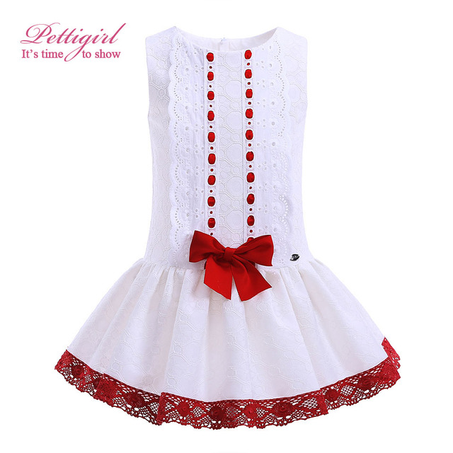 99873d617ba59 Pettigirl Hot Sale Red Bowknot Decor Girls Dresses Fancy Boutique Kid  Clothing Summer White Baby Girl Clothes G DMGD905 776-in Dresses from  Mother & ...