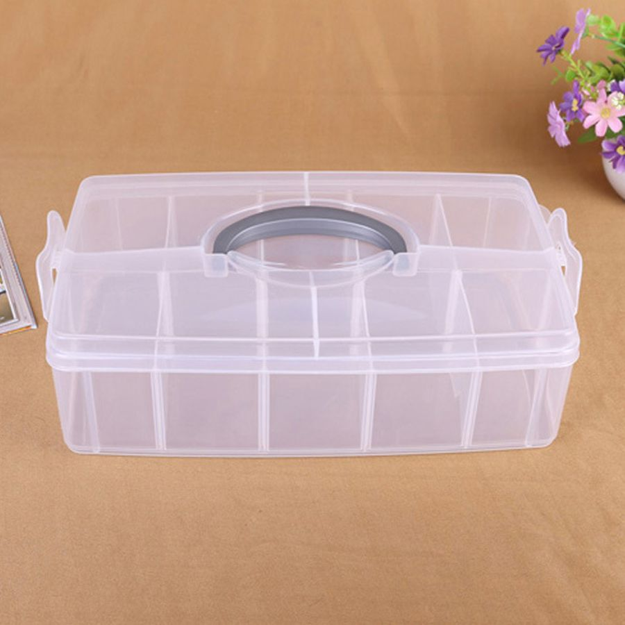 Multi-Function Transparent Tool Box Large Size Removable Septa Tool Box Big Toolbox Electronic Plastic Parts Waterproof Tool