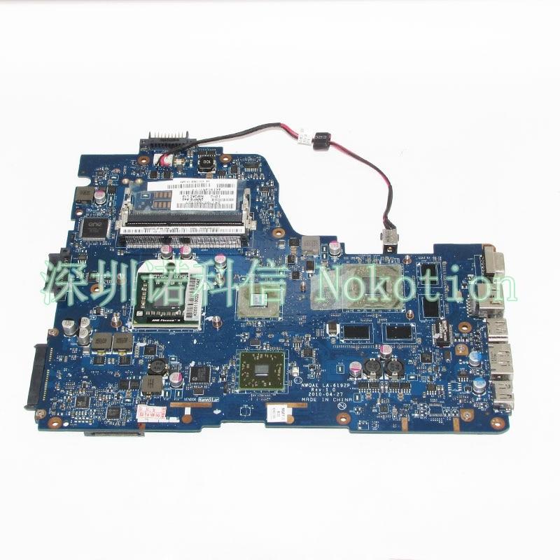 NOKOTION Laptop Motherboard For Toshiba Satellite A665D NMQAE LA-6192P K000108490 Socket s1 Free CPU HD5650M graphics Main board 511858 001 la 4111p main board for hp dv4 laptop motherboard socket s1 ddr2 with free cpu