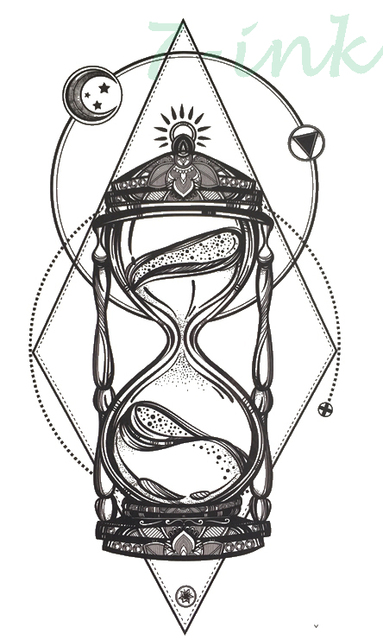 Etanche Tatouages Temporaires Geometrie Sablier Tatouage Mehndi