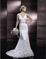 lace gracefully gorgeous sheath V neck low back Handmade flowers hem lace thin beaded embroidered sash bridal gown wedding dress