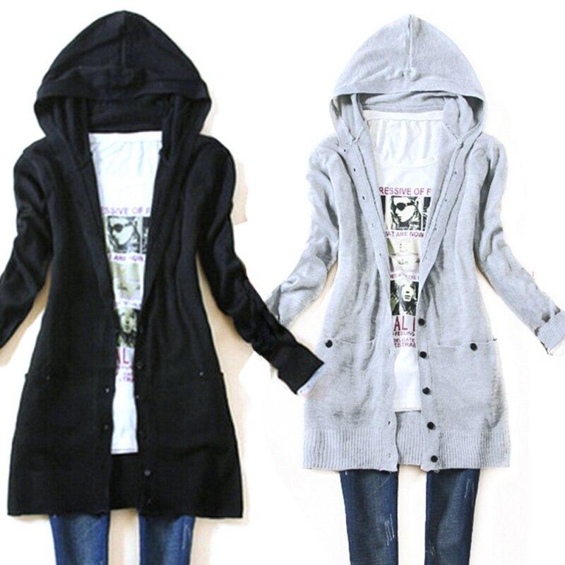 Autumn Women's Long Sleeve Knitted Outerwear Medium Long Hooded ...