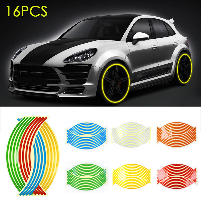New 16pcs Strips Wheel Stickers Decals 18inch Reflective Rim Tape Bike Motorcycle 7 colors Car Tapes Styling DXY88 16 strips motorcycle accessories 7 colors car styling decals 17 or 18 inch car stickers wheel rim sticker reflective tape