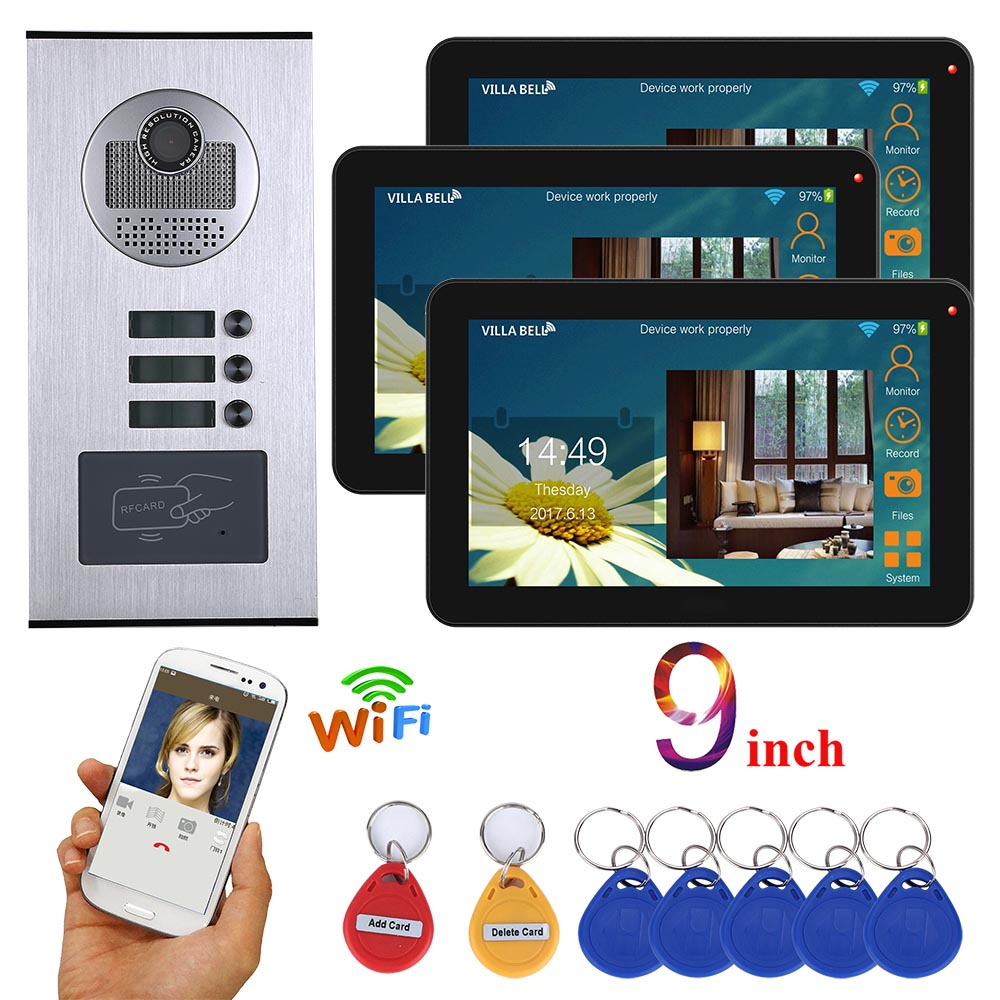MOUNTAINONE 9 Inch Wired Wifi 3 Apartment Video Door Phone Intercom System RFID IR-CUT HD 1000TVL Camera Doorbell Camera