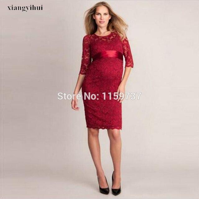 72024203ab12b New Fashion Maternity Evening Dresses 1 2 Sleeve Beach Pregnant Gown  abendkleider robe de soiree