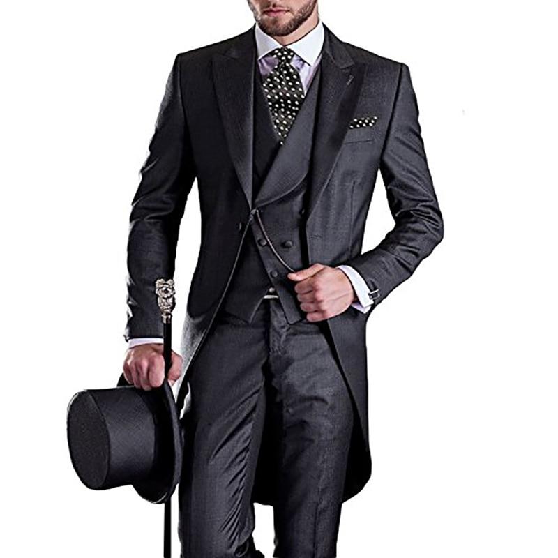 رجل السنونو الذيل معطف 3 قطعة بدلة الزفاف وصيف الأعمال التكس يتأهل ذروة طية صدر السترة واحد الصدر مساء حفلة موسيقية سترة-في بدلة من ملابس الرجال على  مجموعة 1