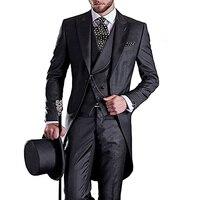 Mens Swallow tailed Coat 3 Piece Wedding Suit Groomsman Business Tux Slim Fit Peak Lapel Single Breasted Evening Prom Blazer