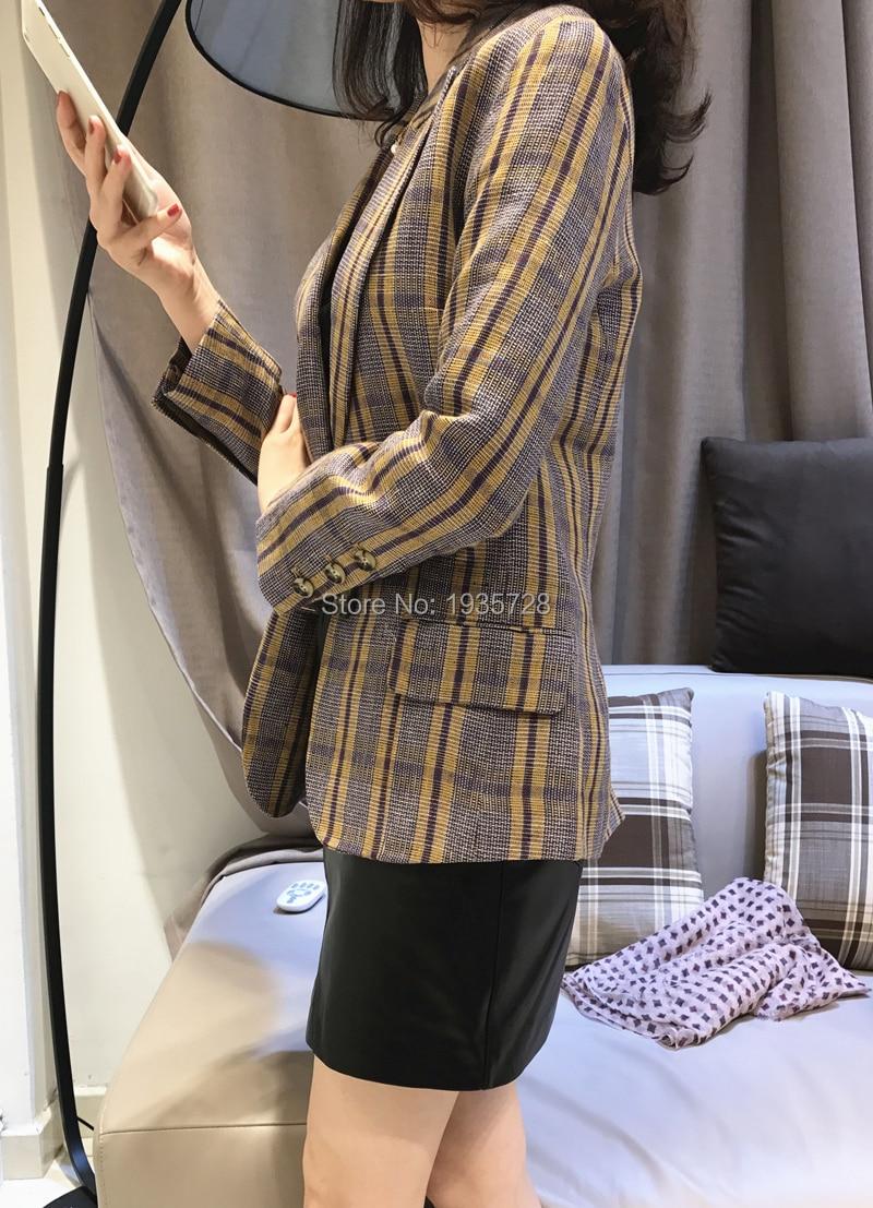 Femmes Femme Avec À Mode Linge Unique Plaid Blogueurs bourgogne Blazer Manteau De Poitrine 2018fw Longues Manches Poches Jaune xrr6wftq