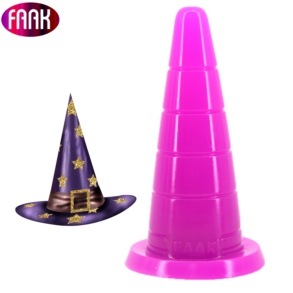 FAAK Realistic Magic Hat Shape Dildo Safe And Health Sexy Toys For Women Adult Sex Anal Plug Anus Massage Couple Flirt