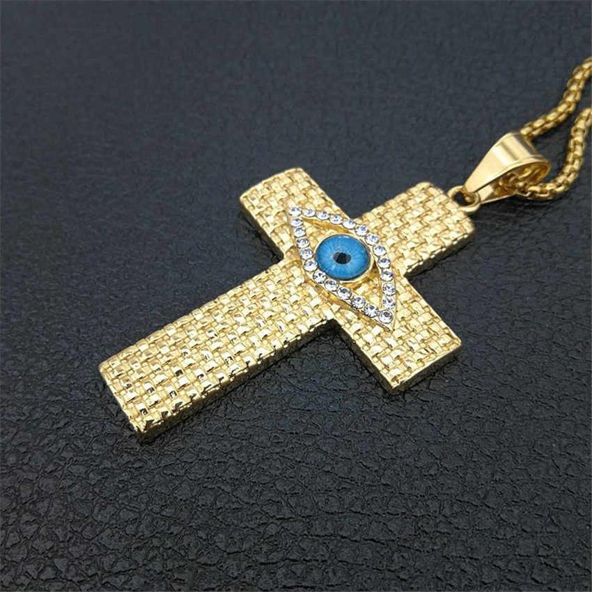 Mistyczne egipskiej duży krzyż wisiorki naszyjniki dla mężczyzn złoty kolor oko horusa Colar ze stali nierdzewnej mężczyzna egipt biżuteria