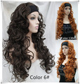 Ladies Arrival 3/4 wigs WILD IRISH CHOCOLATE BROWN HEADBAND CURLY WIG WIGS Heat Resistant queen Cosplay hair wigs fast deliver