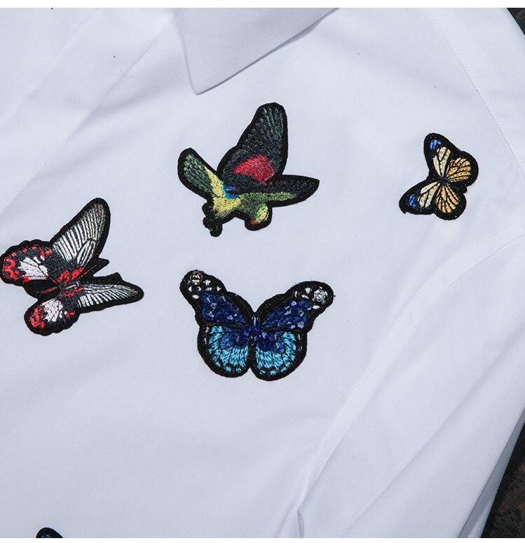 Chemises Papillon De white Hommes Chemise D'origine Mode Mince Blanc Black Masculine Automne Casual Marque Des Coton Camisa Motif Qualité fEU5qwqRP