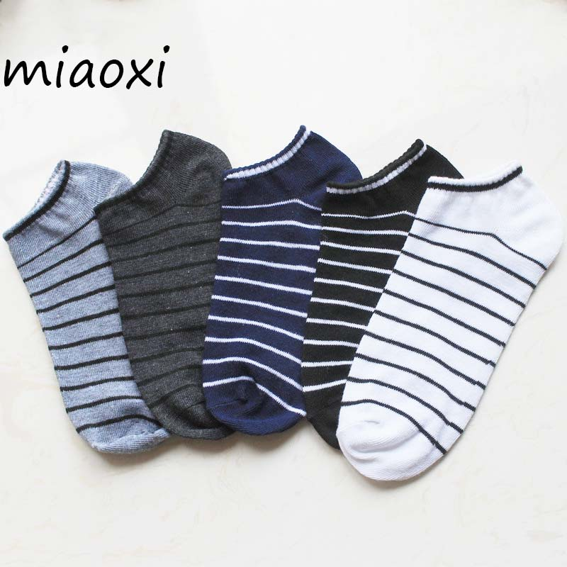 Miaoxi 3Pairs/ Lot Men Sock 5 Colors Standard Poly Stripe Slippers Summer Autumn Short Sock Couple Cotton Socks Wholesale