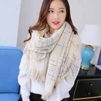New Women Winter Plaid Scarfs Cashmere Acrylic Large Size Keep Warm Wraps Luxury Scarves Winter Charms