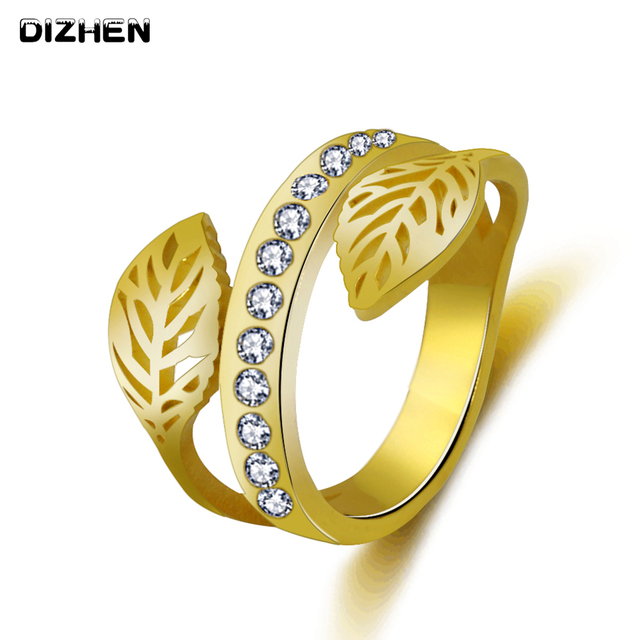product female stones new gifts with ring leaf the women jewelry almei fashion for zirconia cubic sophees black rings