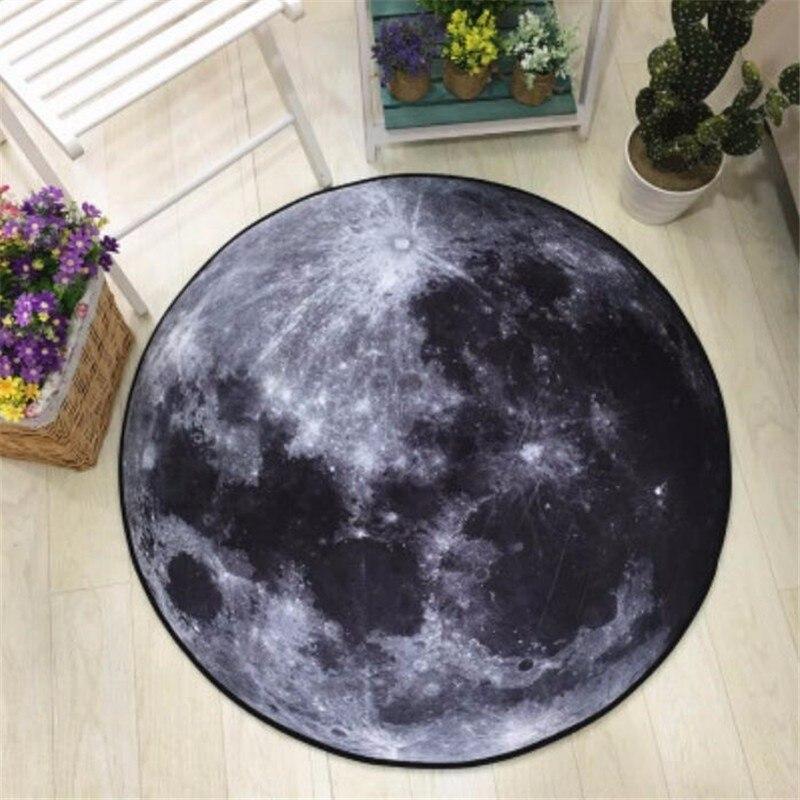 US $9.61 26% OFF 3D ziemia nadrukowany księżyc okrągły dywan miękkie dywany do salonu antypoślizgowy dywanik krzesło do pracy na komputerze mata