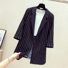 Для женщин летние Длинные Полосатый Блейзер Куртка