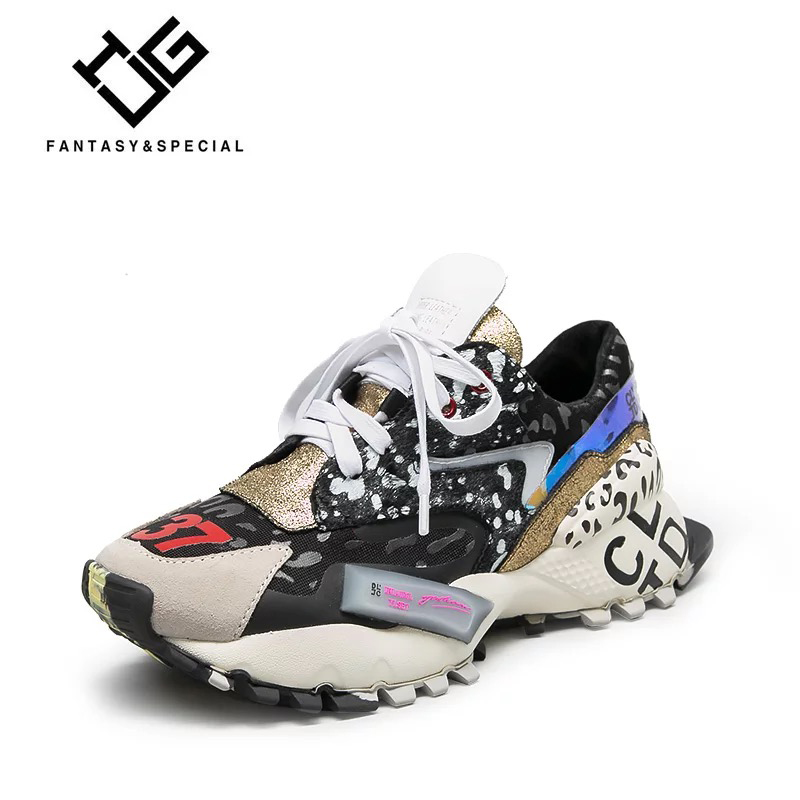 UGI Femmes Chaussures Sneakers En Cuir Véritable Femmes Plate-Forme Chaussures Appartements Harajuku Punk Chaussures Baskets Creeper Filles Mocasines Mujer
