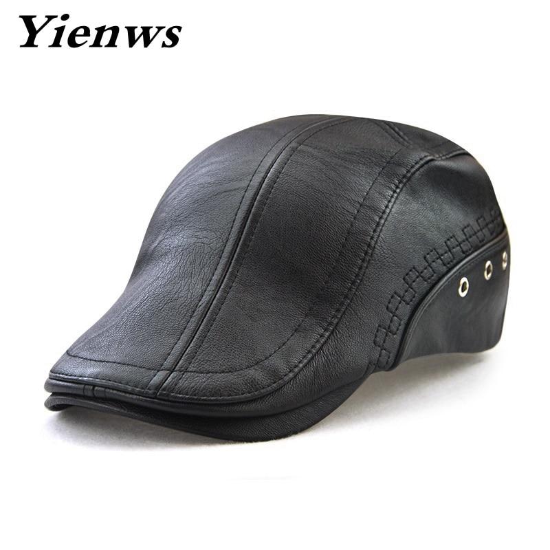 Yienws invierno boina masculina negro pu cuero tapa boina para los hombres Baret gorra plana vendimia casquette plate hombres sombreros y tapas YIC540