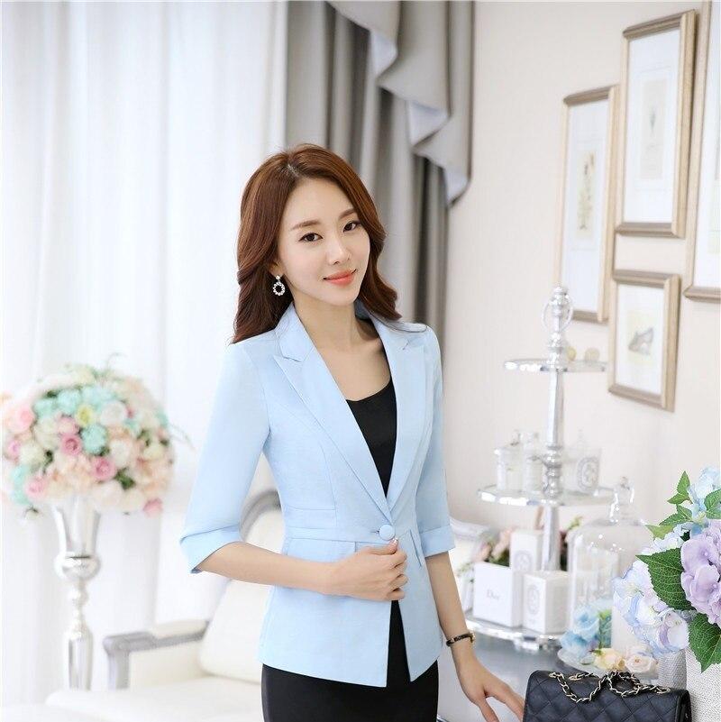 primavera verano novedad azul delgada profesional ol formal estilos de moda blazers y chaquetas mujeres