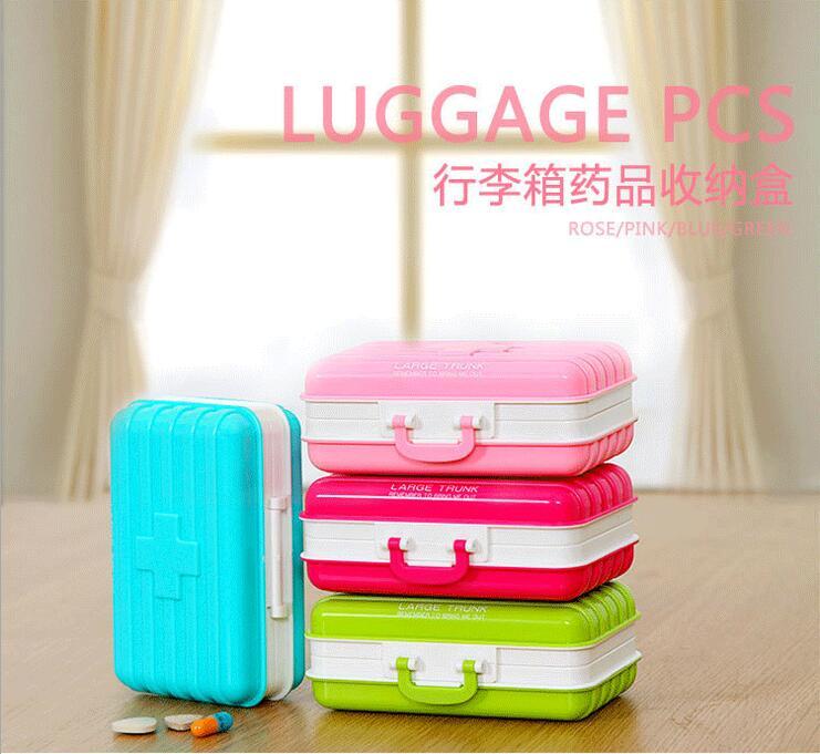 Portable mini portable folding 6 grid small kit suitcase plastic green storage box