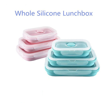 3PCS Portable Rectangle Whole Silicone Lunchbox Scalable Folding Bento Box Food Container with Circular Hole for Dinnerware Set