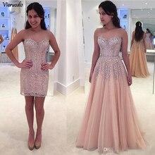 vestido de fiesta Long Mermaid 2 pcs set Prom Dresses Detachable Train Formal Evening Dressesb Appliques Party Gowns