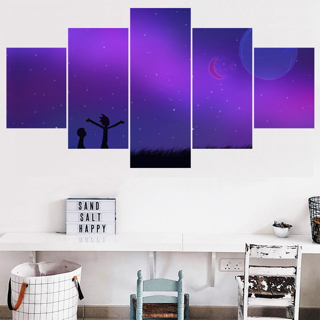 Purple Space Wall Art Pictures Home Decor Rick And Morty Animation Canvas Painting Calligraphy Living Room HD Printed Poster