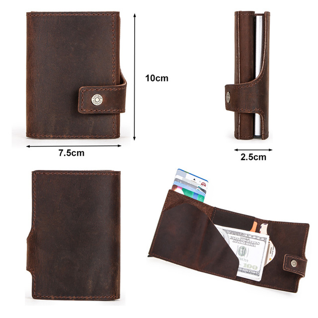 CONTACT'S Crazy Horse leather men wallet RFID Blocking credit card holder Aluminum box Automatic pop up Business Security Purse 2