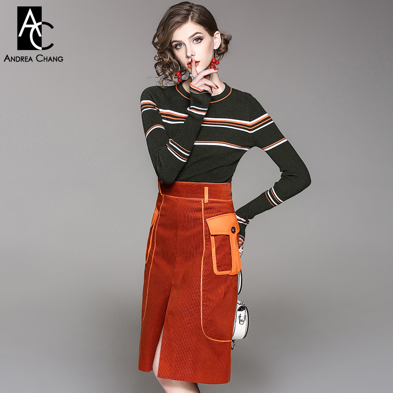 6e2c8b66cf autumn winter woman outfit white orange strip dark green sweater + knee  length corduroy orange skirt with pockets fashion outfit