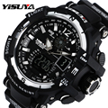 YISUYA Luxury Sports Watches Luminous Mutifuction Quartz Wrist Watch 30ATM Male Outdoor Wrist Watches Rubber Clock