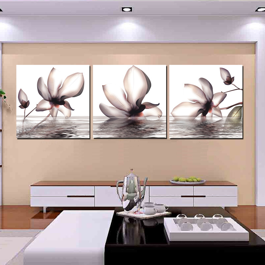 Buy contemporary home decor wall painting flower in water magnolia canvas - Home decor stores mn paint ...