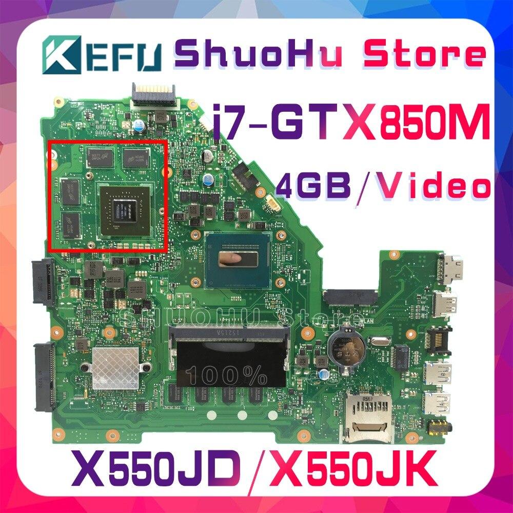 KEFU FX50J For ASUS X550JD X550JK FX50J A550J X550J W50J X550JX K550J I7 Laptop Motherboard Tested 100% Work Original Mainboard
