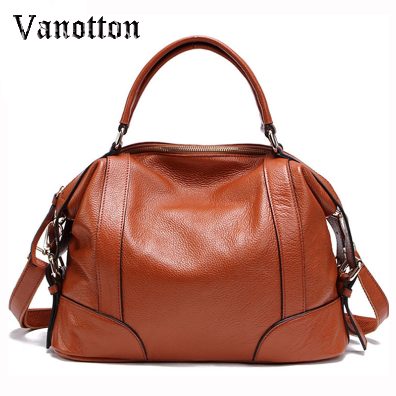 цена на 100% Genuine Leather Fashion Tote Bag for Women New Classic Leisure Handbag Real Cowhide Leather Female Messenger Bags Bolsa