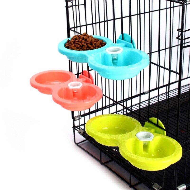 Pet Feeder Dog Anti Bite Detachable Hanging Double Bowls Puppy Food Auto Water Dispenser Dish Supplies