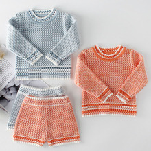 Baby Girls Knitted Clothing Sets Boys Clothes Baby Girl Clothes Baby Boy Clothes Sweaters+Shorts Fashion Handcraft Knit Sets cheap Cotton Worsted Full Solid O-Neck Pullover Regular 86011 Coat Fits true to size take your normal size MQATZ 66 73 80 90