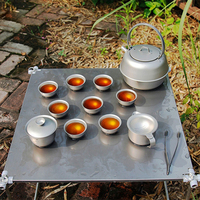 Keith Titanium Heat resistant Double Wall Tea Cups Set Beer Coffee Cup Kettle Drinkware for Outdoor Camping Picnic Ti3930