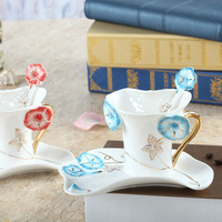 Creative Morning Glory Color Enamel Porcelain Coffee Cup Saucer Spoon Set Creative Gift For Friend Wedding